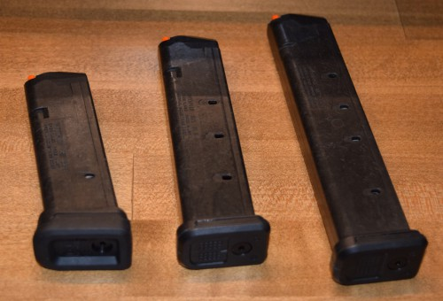 The (3) new GL9 magazines (15, 21, and 27-round L-R). Note the GL L-Plate enhancement on the left.