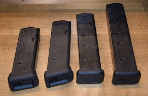 All (4) GL9 magazines in order of capacity (15, 17, 21, 27-rounds L-R).