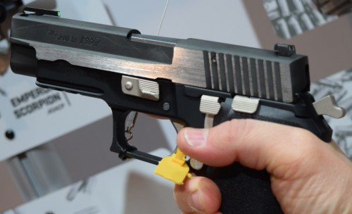 The DA/SA hammer fired action, showing the polished controls and hammer.