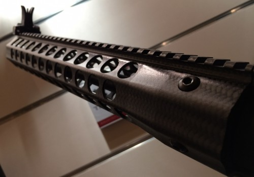 The TRX3 Revolution hand guard appears to be made from carbon fiber.
