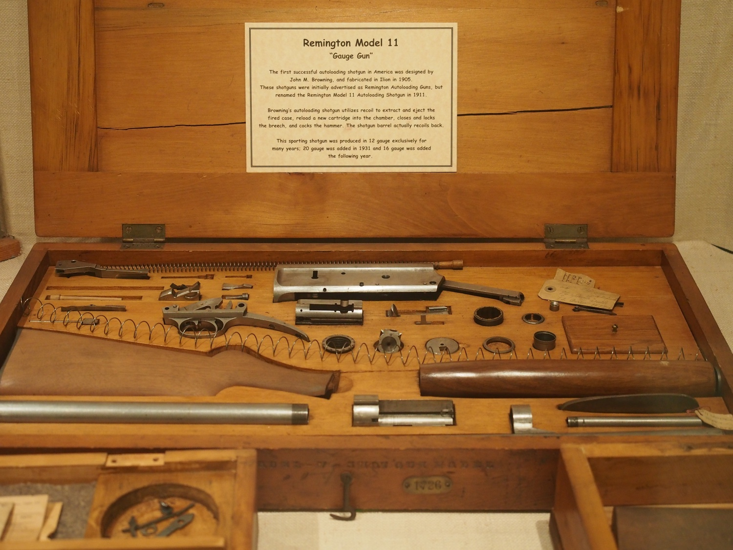 This is an example or template of a particular gun model. All Remington guns had these made with their own wooden case.