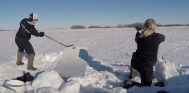 This Video Came Out In March Of 2015 But Is Really A Hoot Sorts To Watch Two Women Canada Combine Their Love Skeet Shooting And Hockey