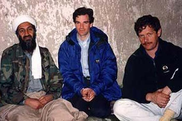 Peter Jouvenal, right, with Osama bin Laden.
