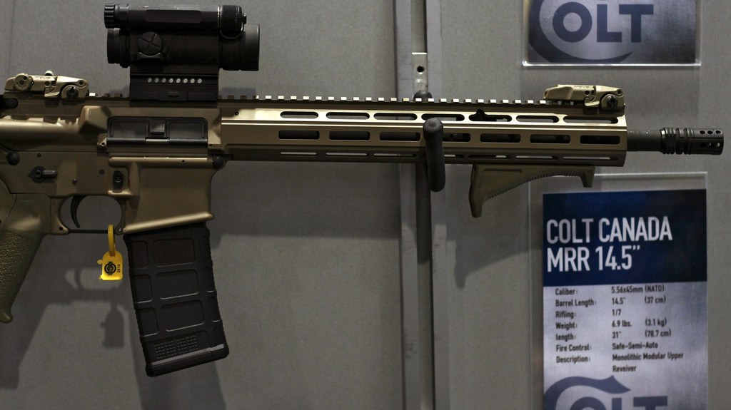 Close up of the monolithic M-LOK fore end of the MRR.
