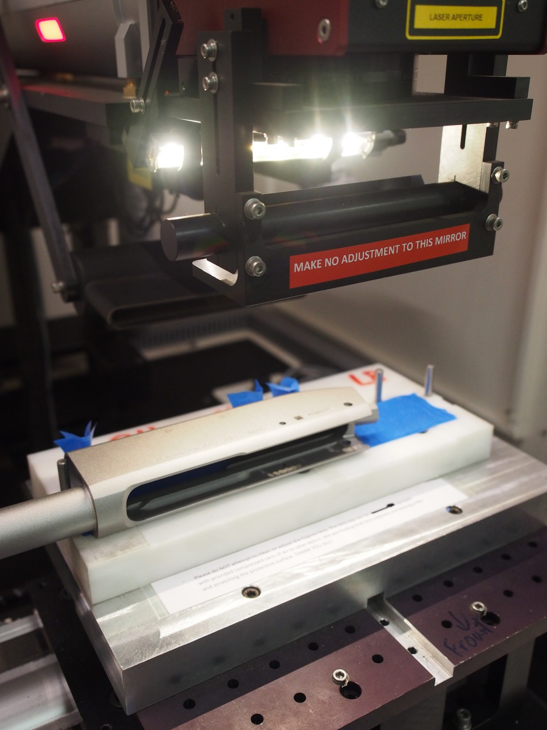 Laser engraving the receiver.