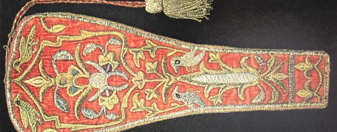 A 16th-century pistol holster from Tbilisi, Georgia. Satin-stitch embroidery with gold and silver thread on velvet, silk and cotton. 32X13 cm. Art Museum of Georgia, Tbilisi