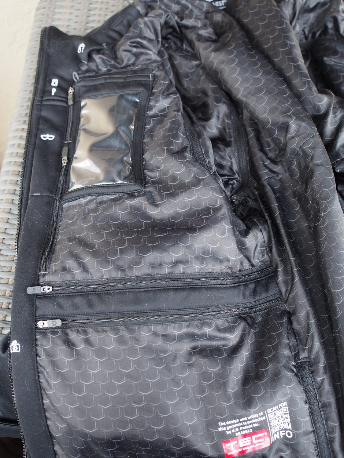 Right side camera pocket,cell phone pocket and other pockets.