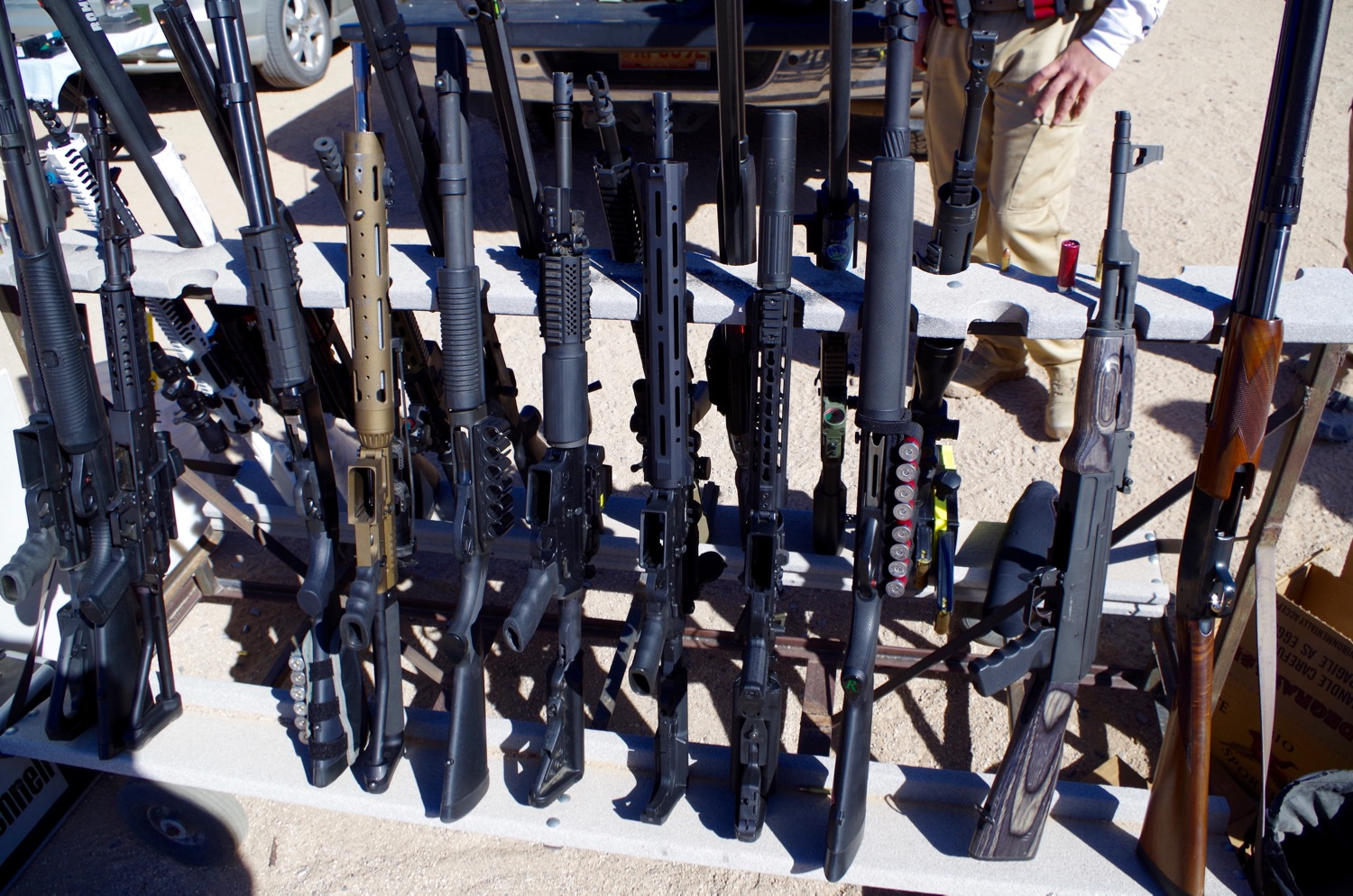 Nestled in among the other rifles at the match.