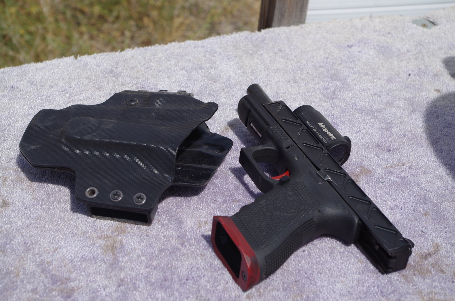 Holsters custom made just before the match.