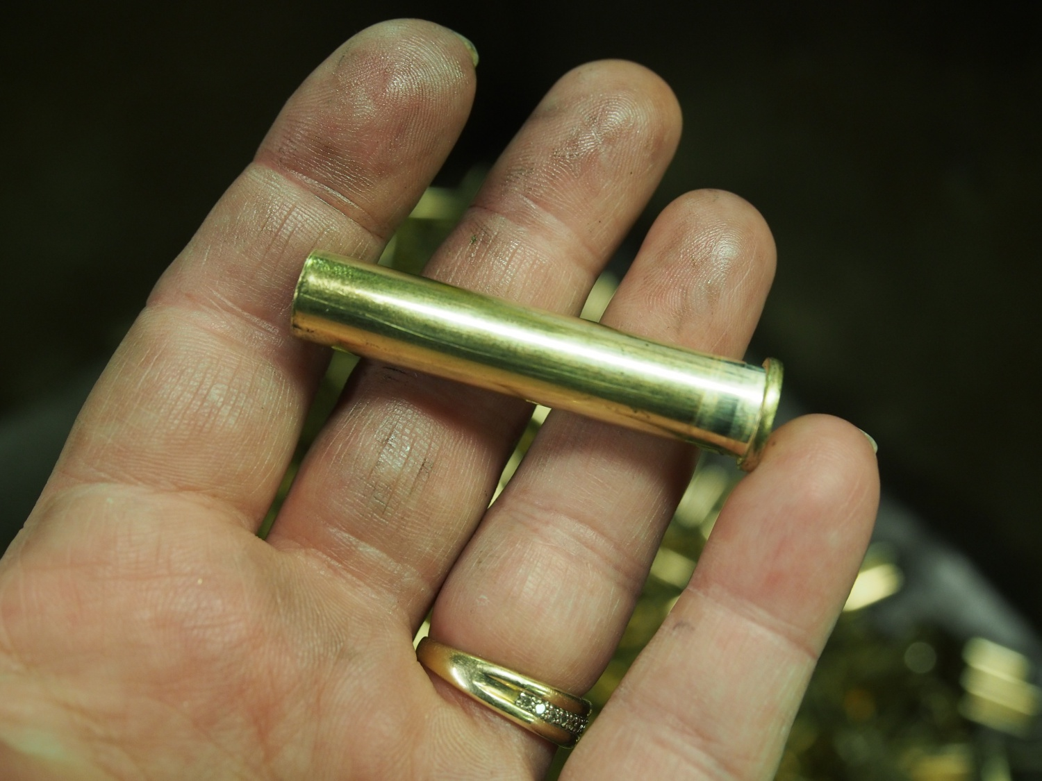 Another view of the unfinished brass case.