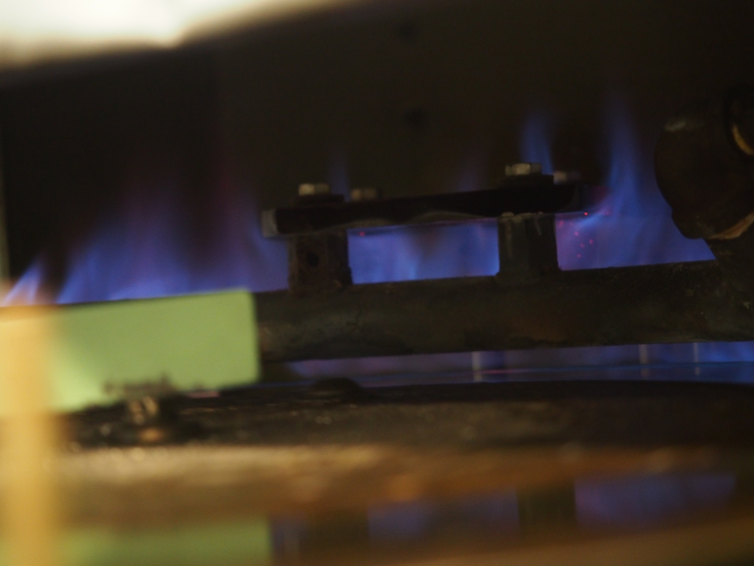 In this photo you get a better view of the gas flame heating the brass.