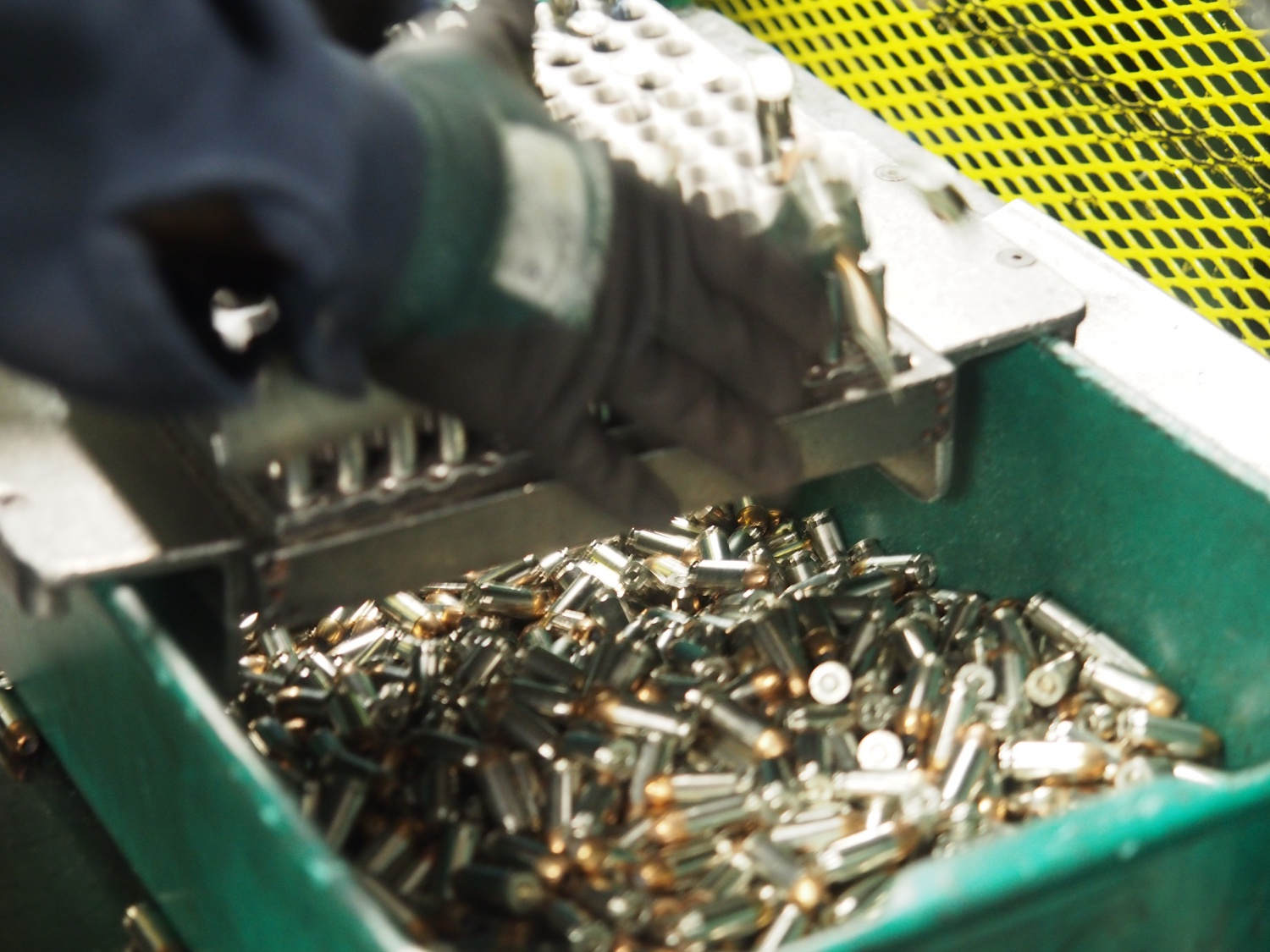Once loaded the rounds go into the holding bin.