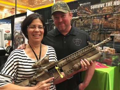 Jeff Axelson and Gold Star mother Cindy Dietz with Axelson Tactical's Danny Dietz Tribute Rifle
