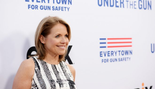 """BEVERLY HILLS, CA - MAY 03:  Broadcast journalist and executive producer Katie Couric arrives at the premiere of EPIX's """"Under The Gun"""" at the Samuel Goldwyn Theater on May 3, 2016 in Beverly Hills, California.  (Photo by Amanda Edwards/WireImage)"""