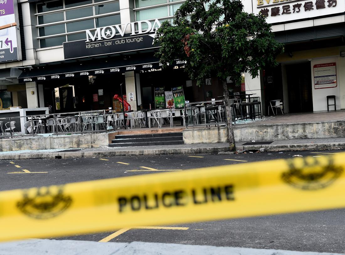 A general view of the site of a grenade attack at a restaurant in Puchong district outside of Kuala Lumpur on June 28, 2016. Eight people were injured after a hand grenade was thrown at a restaurant in Malaysia's central Selangor state, police said, citing business rivalry rather than terrorism as the likely motive. / AFP / MANAN VATSYAYANA (Photo credit should read MANAN VATSYAYANA/AFP/Getty Images)