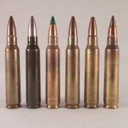 Various 5.56mm rounds, left to right: 55gr M193, 55gr French ball, M855 (made in Korea), Mk. 262 Mod. 1, Mk. 318, M855A1