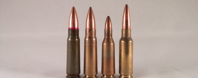 7.62x39 and two of its derivatives. Left to right: Commercial FMJ, Yugoslavian M67, 5.6x39mm/.220 Russian, 6.5x38 Grendel.