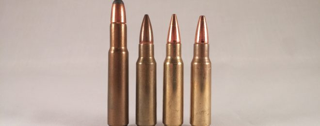 Three 6.8 SPC cartridges and their parent round. Left to right: .30 Remington, 6.8 SPC 115gr Sierra BTHP, 110gr Hornady OTM, XM68GD 90gr soft point.