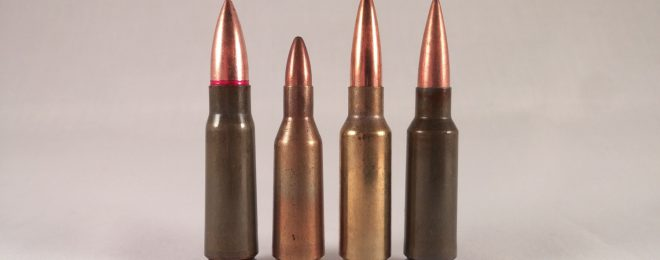 Two 6.5 Grendel rounds and related cartridges. Left to right: 7.62x39mm, .220 Russian, 6.5 Grendel 123gr SMK, Wolf 100gr FMJ.