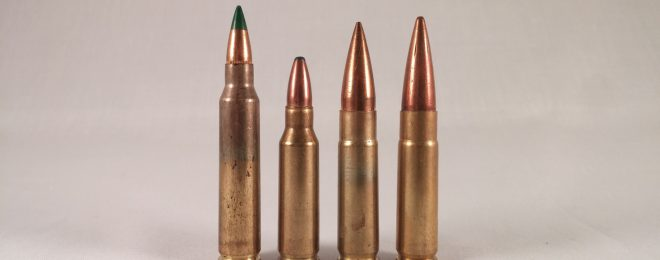 On the right are two .300 AAC Blackout rounds, alongside the green-tipped 5.56mm and shorter .221 Remington Fireball that serves as the round's parent case.