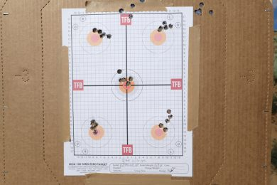 Target (Holes at top center are from ranging shots to adjust for impact difference for 50yards vs zero distance)