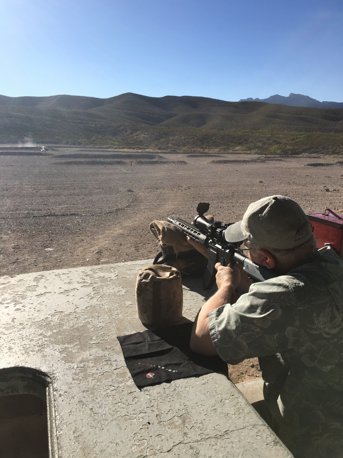 My FFL dealer and friend, Ed Solomon of SImcha Wholesale playing with the RRA LAR-47 X-1, this time at the El Paso Gun Club.
