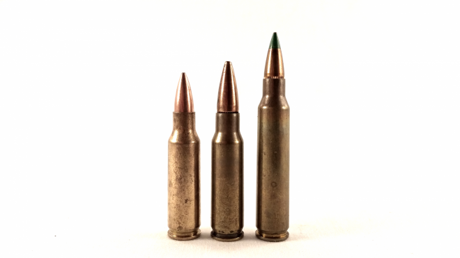 The 6x35mm KAC/TSWG flanked by its parent, the .221 Remington Fireball on the left, and the 5.56x45mm on the right, which it is designed to duplicate from shorter barrel lengths.