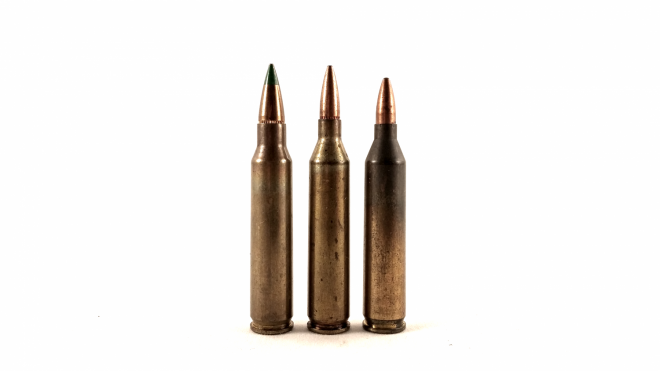 The 5.56mm alongside two of its .17 caliber variants. Center, the 4.32x45mm Frankford Arsenal, Right, the German 4.3x45mm DAG.