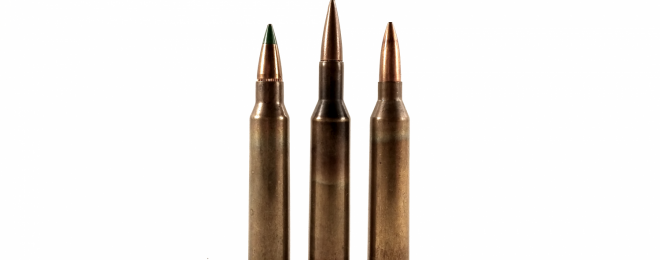 The 4.85 British (center) was developed in the UK and competed in the NATO trials that eventually standardized on the Belgian 5.56mm SS109 load (left). Like the similar German 4.9x45mm DAG (right), it is based on the 5.56mm case.