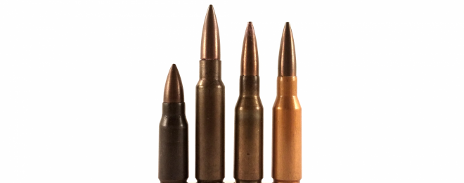 Two .280/30 cartridges, and their immediate ancestors. The .280 concept was inspired by the German 7.92x33 Kurz caliber on the far left, but demands for standardization in testing with the US-developed .30 T65 cartridge (center left) resulted in rounds after 1949 using the same case head as that round.
