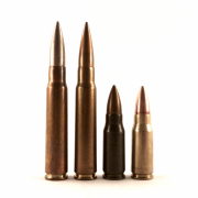 The 7.92mm Kurzpatrone 43 (middle right) was developed from the larger 7.92mm German infantry cartridge, represented by the 154gr S Patrone (left) and 198gr sS Patrone (middle left). The 7.92x33 Kurz, as it's more commonly called today, is still used by some forces that retain the WWII-era Sturmgewehrs that fire it. The primary producer of ammunition for these weapons today is Prvi Partizan, which made the cartridge on the far right.