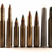 Multiplex rounds, left to right: .30-06 long neck duplex, .22-06 long neck duplex, .25 Winchester FA T115 short neck duplex, .25 Winchester FA T127 long neck duplex, Colt 7.62 salvo squeezebore triplex, 7.62mm M198 duplex ball, 9.53x76mm Winchester quadruple flechette, .330 Amron Aerojet triple flechette.