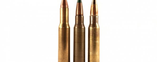 "The long-necked Colt 7.62mm round on the left combines the principles of triplex and squeezebore rounds (together called ""salvo-squeezebore""). When fired from a modified M60 with a tapered muzzle, it would spit out three 55gr .224"" caliber projectiles per shot. In the center is the duplex (not squeezebore) M198 7.62mm round, and on the right is the M80A1 EPR round, for comparison."