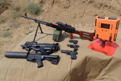 Clockwise from top: PKM 7.62x54R, Ruger LCP .380, Walther P22 .22lr, FN Five-seveN 5.7x28, Can Cannon 12oz, FN PS90 SBR 5.7x28