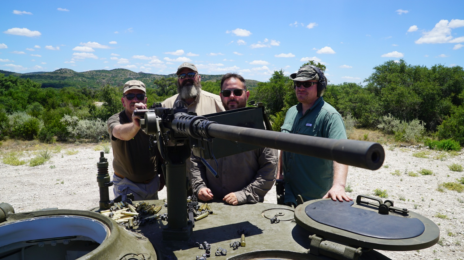 Standing on top of the Easy 8 Sherman Tank