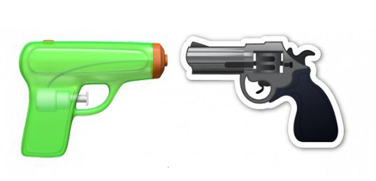 New and old Apple pistol Emoji