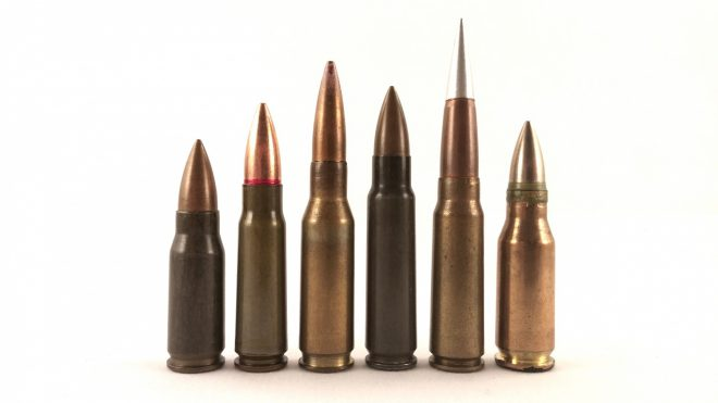 """First generation"" intermediate calibers together. Left to right: 7.92x33 Kurz, 7.62x39 (commercial lookalike standing in for M43), .280/30 British, 7.62x45 Czech, 7.92x40 CETME, 7.5x38 Swiss."