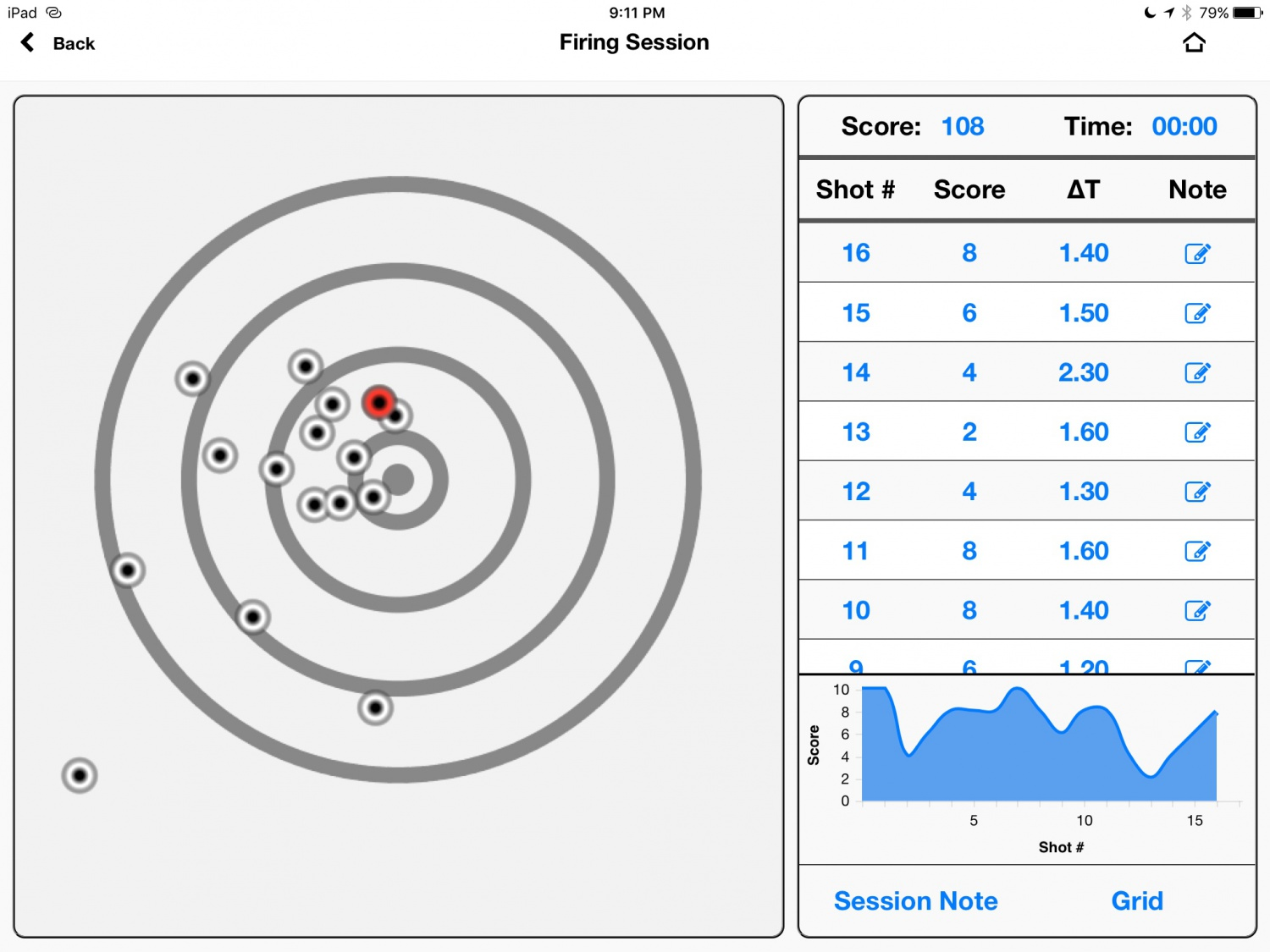 "Screen shot of the iPad app showing the shots and splits.  The shots were recorded dead accurately (I didn't get a pic of the plate showing these shots, as I had been shooting all day on it--the plate was not ""fresh"")."