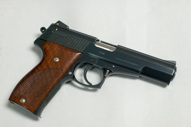 "5"" barrel HSP 701 from 1986. This is a 700 series pistol. The bluing is almost black but shines in lighting"