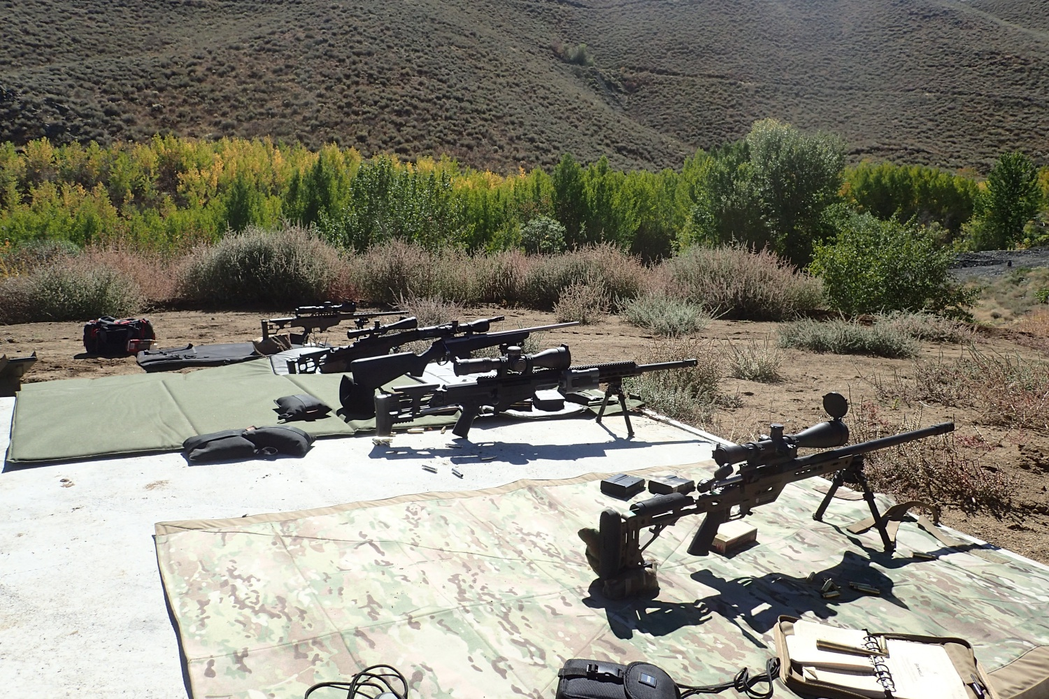 Rifles on the line for the class, PCR on the right