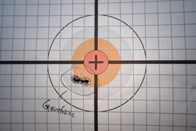 "Best group of the day from Gemtech Silencer Subsonic. .25"" grid."