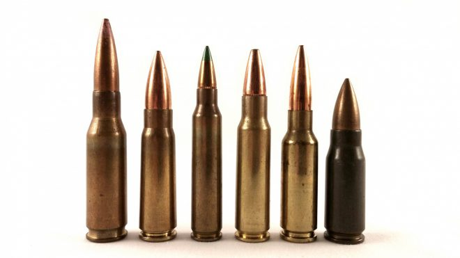 Left to right: .280/30 British, 7.62x39mm M67, 5.56x45m M855, 6.8x43mm SPC XM68GD, 6.5x38mm Grendel 123gr Lapua Scenar, 7.92x33mm Kz.Ptr.43 sME. All of these rounds have different characteristics that affect their ballistic performance and their reliability in automatic firearms. We'll be taking a closer look at these characteristics to better understand the trade-offs in small arms ammunition design.