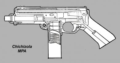 Cut-away drawing of Enrique Chichizola's MPA with an 18-round magazine in place. Note the well-inclined configuration of the pistol grip.