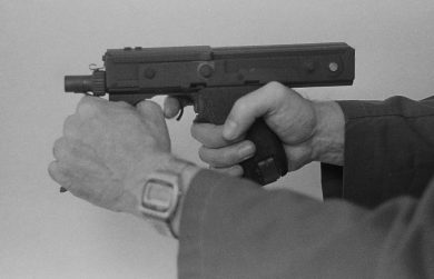 The intended two-hand firing position for the MPA.