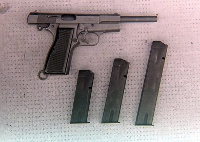The single 7.63x21mm Mannlicher SPA prototype built, slide to the rear, is seen here with the 16-, 25- and 40-round magazines.