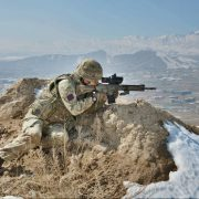 A British Army soldier provides overwatch with his L129A1 rifle in Afghanistan. Image source: reddit