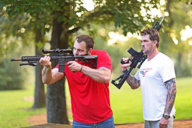 Chris Gridley and Marcus Luttrell with the Team Never Quit Mk12CF SPR