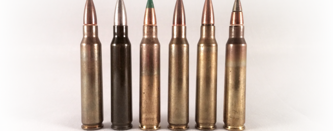A lineup of 5.56mm rounds. The two on the right are Mk. 318 (second from right), and M855A1 (far right).