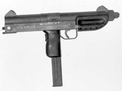 The SOCIMARTE SM 9 was Nelmo's first design to incorporate a magazine-in-grip configuration. Gun is seen here with the wooden stock detached.