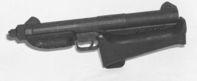 Alternatively to being fully removed, the stock could be folded sideways to the left of the gun.